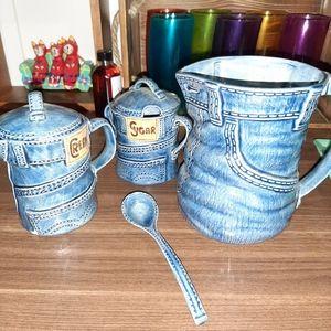 SUPER RARE Incredible vintage denim pottery